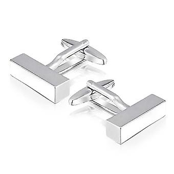 Silver Rectangular Bar Barrel Cufflinks Polished Groom Wedding Smart Gift Present