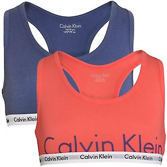 Calvin Klein Girls 2 Pack Modern Cotton Bralette, Calypso Coral / Coastal Fjord, Medium