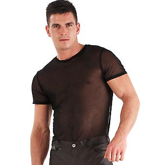 Honour Men's Sexy T Shirt Top in Black Translucent Material Mesh Classic Fit