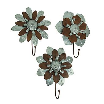 Galvanized Metal Flower Wall Hook Set of 3