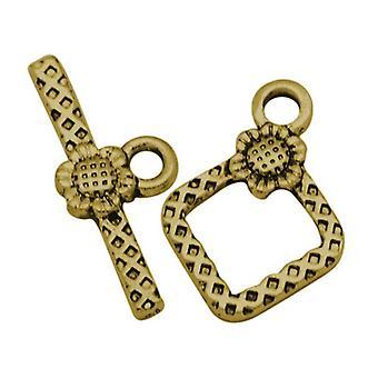 Pakke 10 x antik guld tibetanske Diamond & Toggle hægter 21 x 24mm HA11695