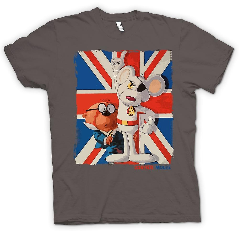 Herr T-shirt-Danger Mouse och Penfold - Union Jack - Retro