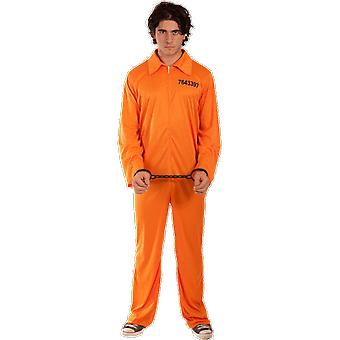 Mens Convict Orange Jumpsuit Prisoner Outfit Halloween Fancy Dress Costume