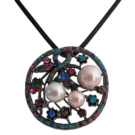 Floral Round Pendant with Muli Colored Crystals Necklace