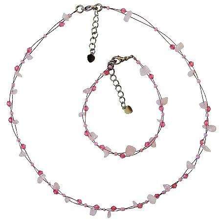 Rose Stone Nugget w/ Rose Crystals & Small Pink Neklace & Bracelet Set