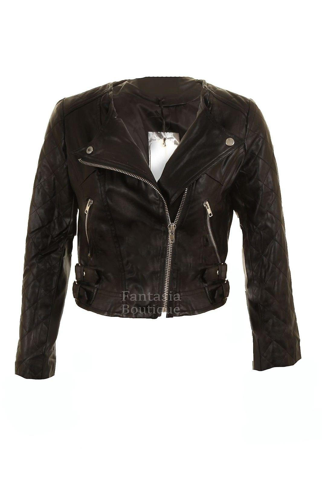 Ladies Black Biker Jacket Silver Zip PVC Leather Long Sleeve Women's Coat