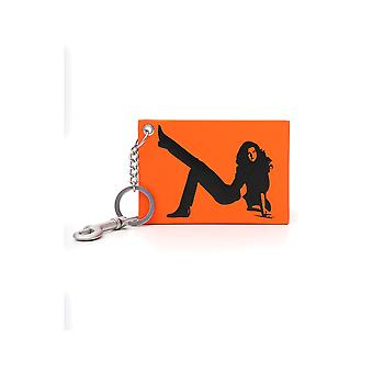 Calvin Klein Jeans Orange/black Leather Key Chain