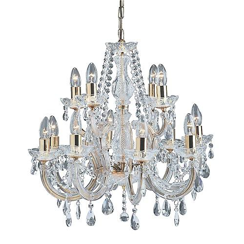 Searchlight 699-12 Marie Therese 12 Arm Polished Brass Chandelier With Crystal