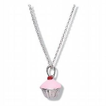 Jo For Girls Sterling Silver 3D Cupcake Pendant Necklace 14