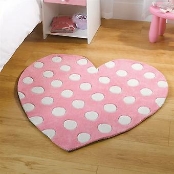 Flair Kiddy Play Polka Heart Pink Childrens Rug 90x90cm