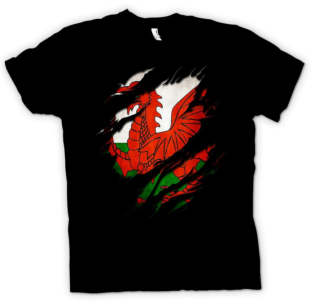 Mens T-shirt - Welsh Flag Grunge Ripped Effect