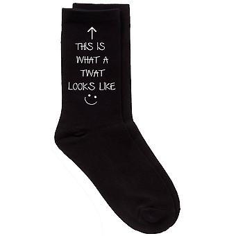 Mens This Is What A Twat Looks Like Black Calf Socks