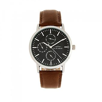 Elevon Lear Leather-Band Watch w/Day/Date - Brown/Silver