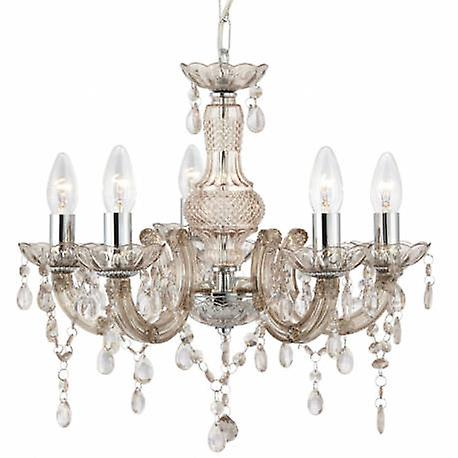 5 lumière Chandelier Mink Finish With Acrylic crystals