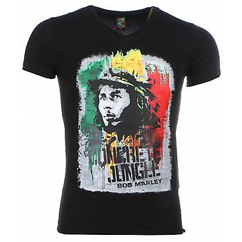 T-shirt-Bob Marley Concrete Jungle Print-Black