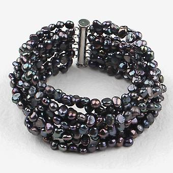 Silver Plated Multi Strands Black Fresh Water Cultured Pearl Bracelet, 18cm