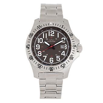 Elevon Aviator Bracelet Watch w/Date - Silver/Brown