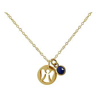 Gemshine Halskette Anhänger Engel Schutzengel 925 Silber oder vergoldet Saphir