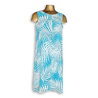 Susan Graver Dress Printed Liquid Knit w/ Sheer Blue A276436