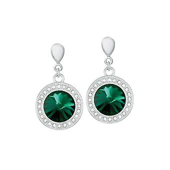 Eternal Collection Viva Emerald Green Austrian Crystal Silver Tone Drop Pierced Earrings