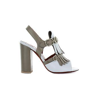 SANTONI BICOLORED FRINGE HEELED SANDAL