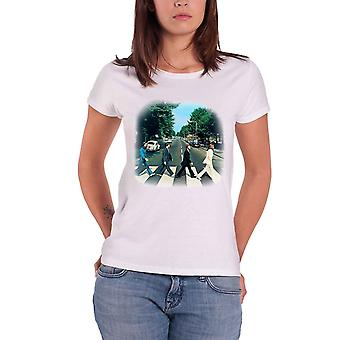 The Beatles Abbey Road Vintage Official Womens New White Skinny Fit T Shirt