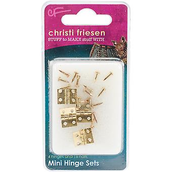 Christi Friesen Mini Hinges 4/Pkg-Brass CF641