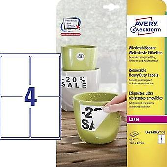 Avery-Zweckform L4774REV-20 Labels (A4) 99.1 x 139 mm Polyester film White 80 pc(s) Removable Address labels, Weatherpro