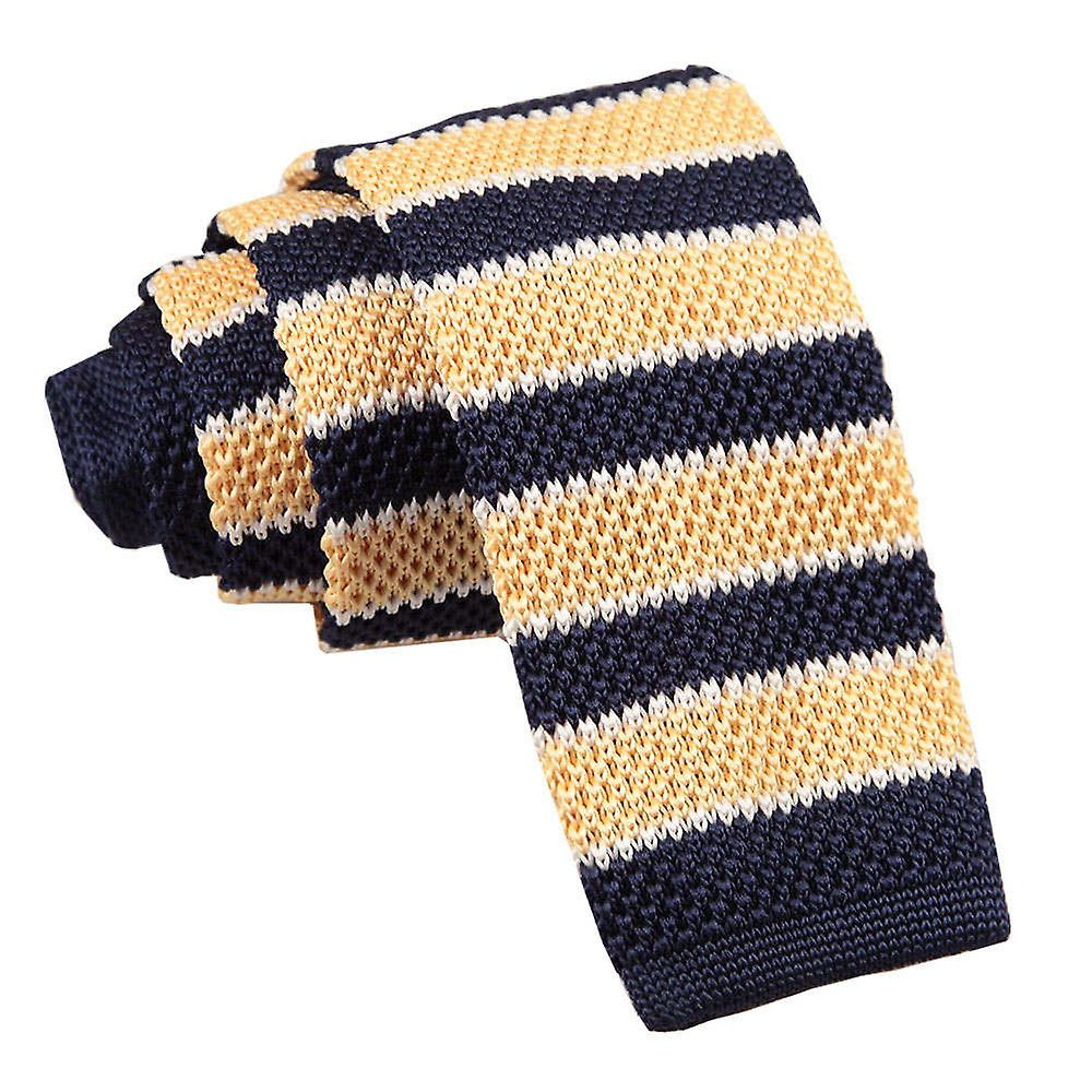 Knitted Pale Yellow Navy with White Thin Stripe Tie