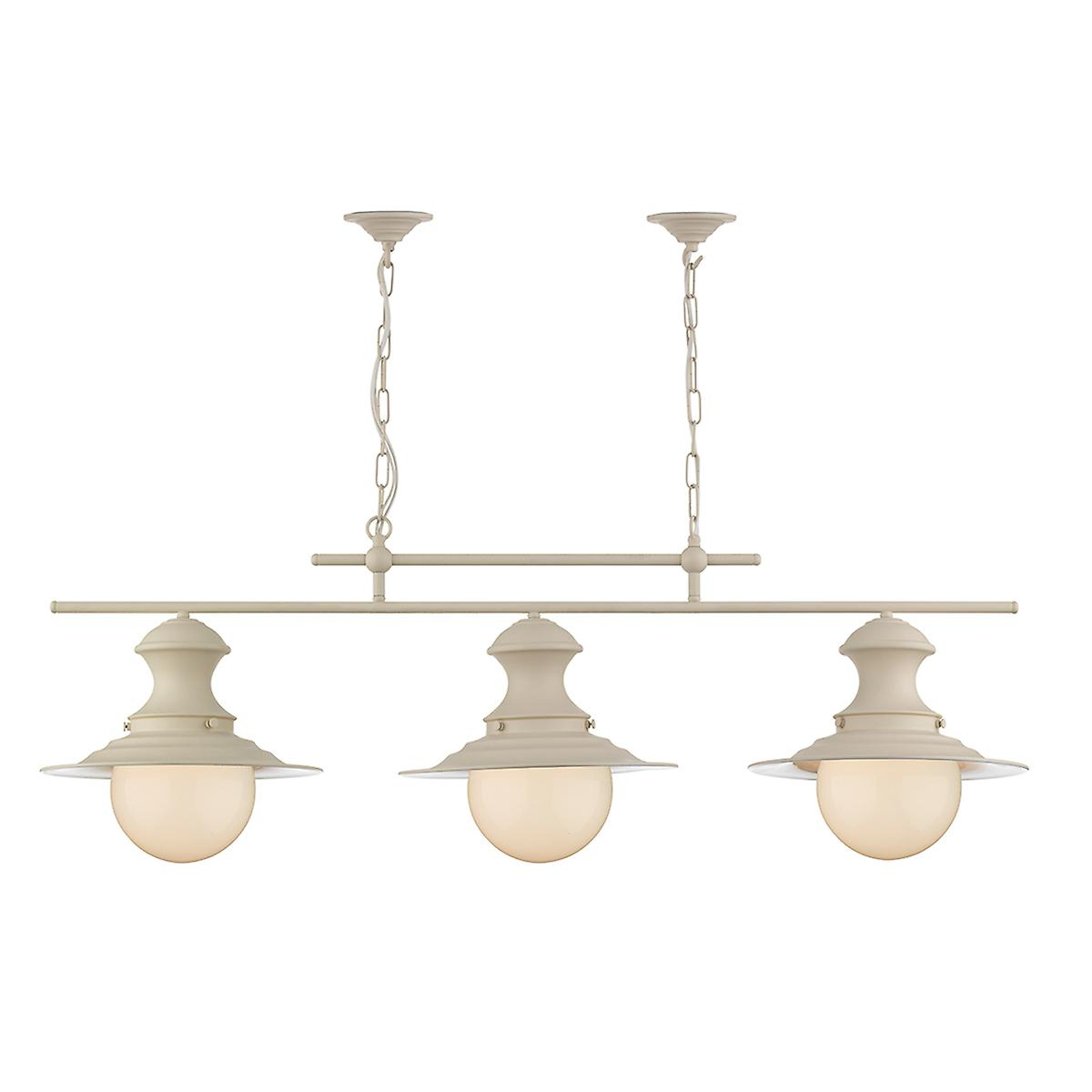 David Hunt EP0333 Station 3 Small Lamp Bar Pendant In Cotswold Cream