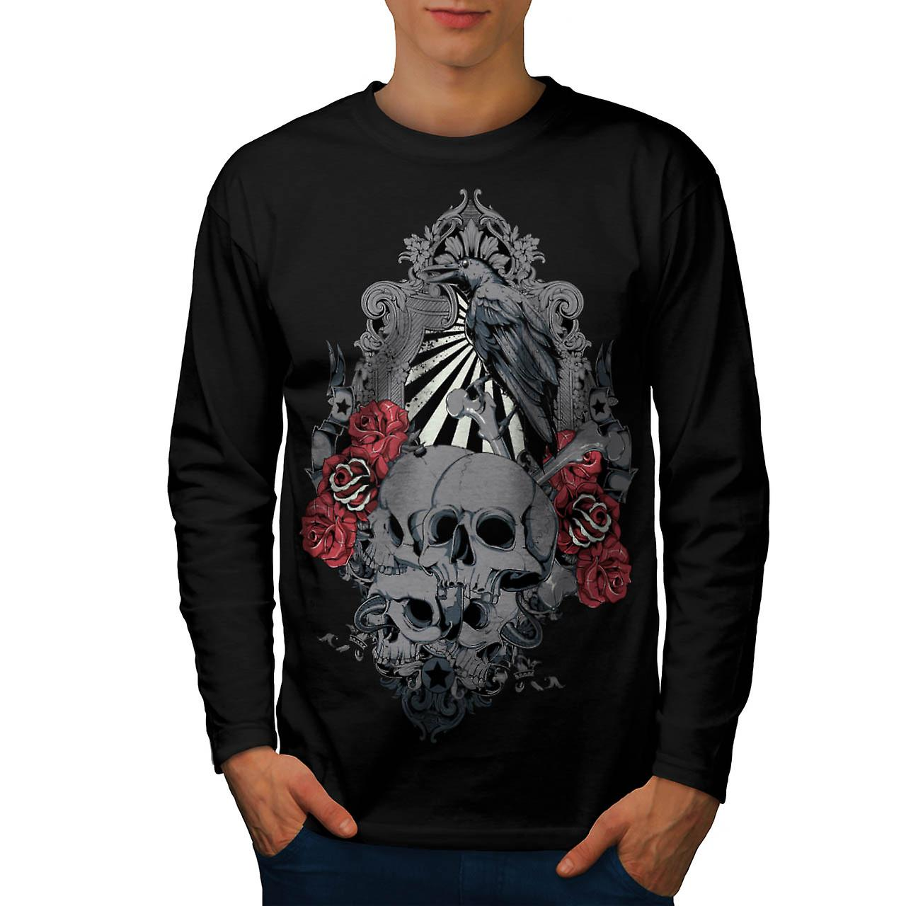 Rose Crow Creepy Skull Men Black Long Sleeve T-shirt | Wellcoda