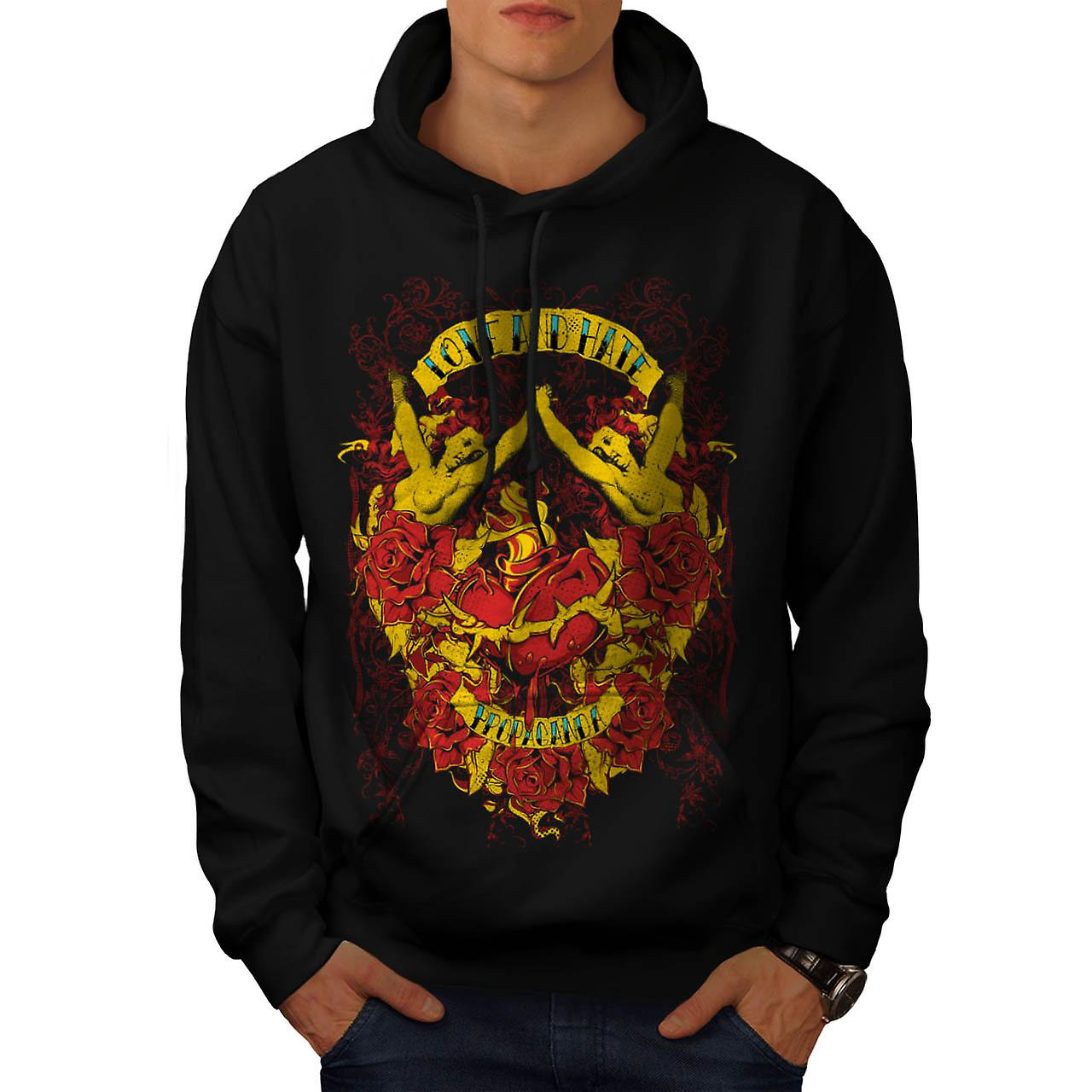 Love And Hate Angels Propaganda Men Black Hoodie | Wellcoda