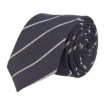 Andrews & co. narrow tie Club tie Navy blue white striped