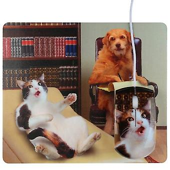USB mouse and mousepad cat Dog psychiatrist