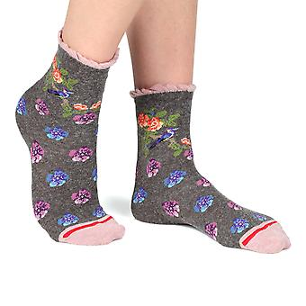 Birdy women's crazy floral crew socks in charcoal | French design by Fil de Jour