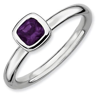 Sterling Silver Expressions empilable coussin coupe Bague amethyste - bague taille : 5 à 10