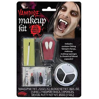 Halloween Vampire Make Up Kit with Fangs,Putty,Makeup Tray & Fake Blood Capsules