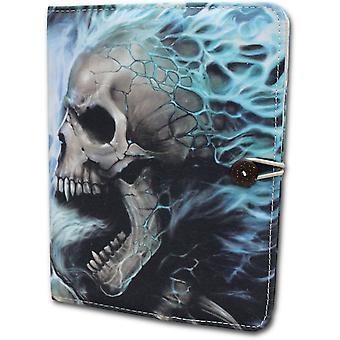 Spiraal directe Flaming wervelkolom Ipad Air Folio Case Stand schedel botten skelet