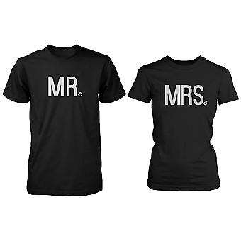 La valeur correspondant à Couple chemises - Mr et Mme Wedding Bands T-shirt en coton noir