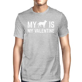 Mój pies mój Men Valentine Heather Grey T-shirt V-day kreatywne prezenty