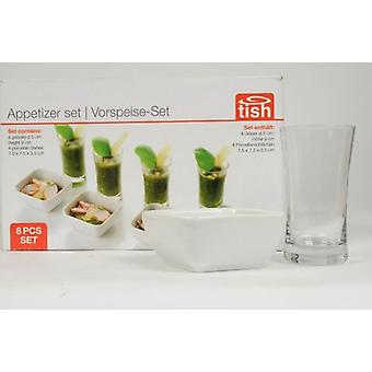 Set of 8 Appetizer Set 4 Glasses 4 Porcelain Dishes
