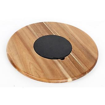 ACACIA WOOD LAZY SUSAN SERVING TRAY WITH SLATE CENTRE