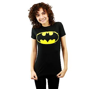 DC Comics Batman Dark Knight Logo Junior's Black T-shirt