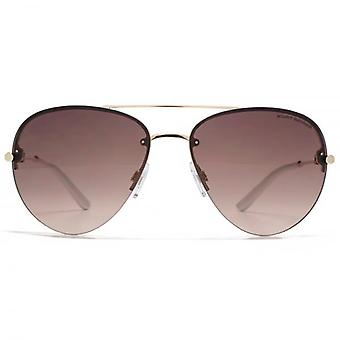 Kurt Geiger Fine Frame Metal Pilot Sunglasses In Gold