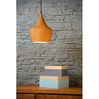 Lucide Woody Scandanvian Oak Wood Pendant Light