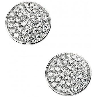 Elements Silver Cubic Zirconia Disc Earrings - Silver