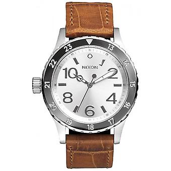 Nixon de 38-20 Leather Watch - bruin/zilver/wit