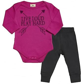 Spoilt Rotten Live Loud Play Hard Babygrow & Jersey Trousers Outfit Set