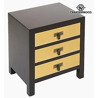 Bigbuy Bedside table in black and yellow Modern MDF