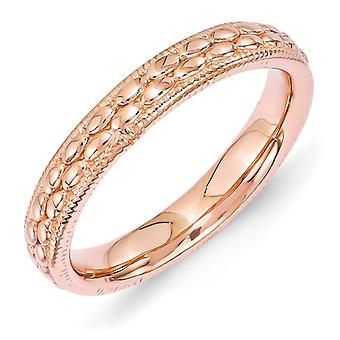 3.5mm Sterling Silver Stackable Expressions Rose Gold-plated Patterned Ring - Ring Size: 5 to 10